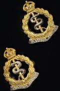 Royal Army Medical Corps: Pair 'Facing' of Officers 'Kings's Crown' gilt and white metal collar badges