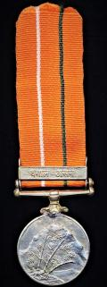 India: Sainya Seva Medal with clasp in Hindi for 'Assam & Bengal' (IC-34170 A/Capt. S. J. Singh, Guards.)
