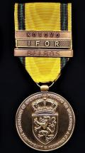 Belgium: The Commemorative Medal for Foreign Missions or Operations (La Medaille Commemorative pour Missions ou Operations l'Etranger) With clasps 'BELBOS' IFOR' & 'KOSOVO'