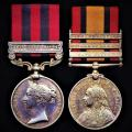 A late Victoria era campaign medal pair for service in the Indian Empire of the British Raj and during the South African War: Private Thomas Rennie 1st Battalion Kings Own Scottish Borderers