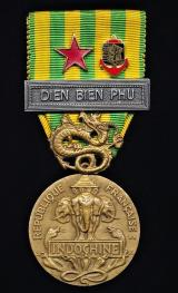 France: Indochina Campaign Medal 1945-1954. With clasp 'Dien Bien Phu', 'Wound' emblem & enamel insignia of the 'Far East Expeditionary Corps (CEFEO)
