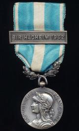 Colonial Medal (la Medaille Coloniale). 'London' strike (Modele Londres). With London 'F.F.L.' variant clasp 'Bir Hacheim 1942'