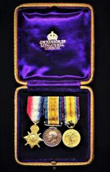 British Miniature Medal group of 3 x Great War Medals: In 'Benson's' leatherette case